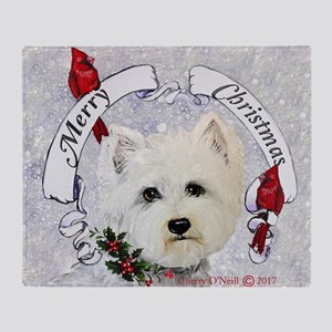 Winter Westie Christmas Throw Blanket