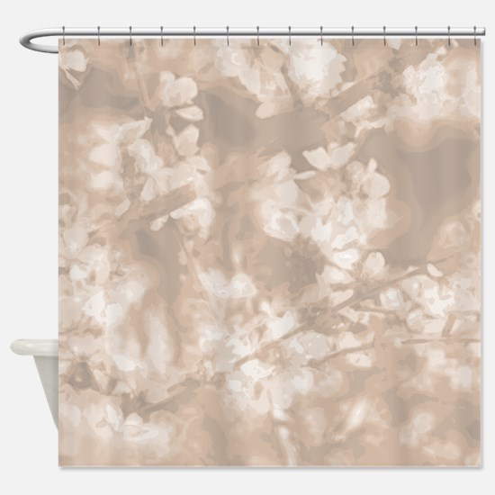 Spring Blossoms in Toasted Almond Shower Curtain