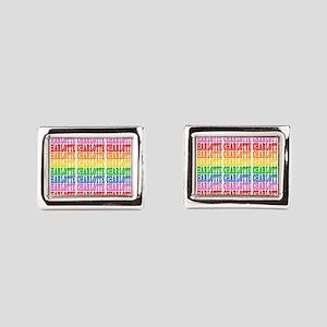 Rainbow Name Pattern Rectangular Cufflinks