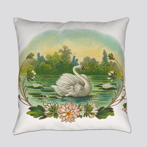Swimming Swan Everyday Pillow