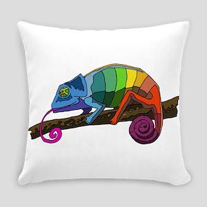 Rainbow Chameleon Everyday Pillow