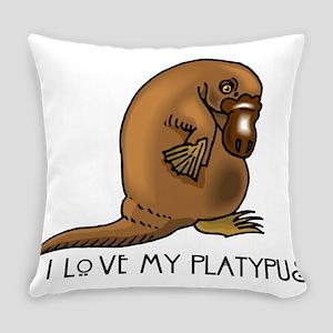 I Love my Platypus Everyday Pillow