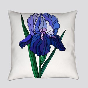 Stained Glass Iris Everyday Pillow