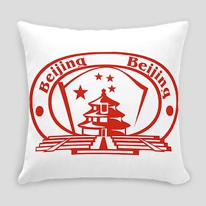 Beijing Passport Stamp Everyday Pillow