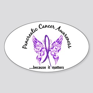 Pancreatic Cancer Butterfly 6.1 Sticker (Oval)