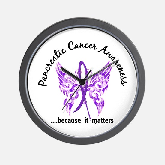 Pancreatic Cancer Butterfly 6.1 Wall Clock