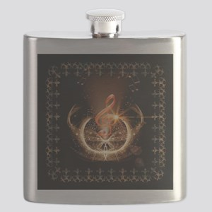 Music, clef with awesome light effect Flask