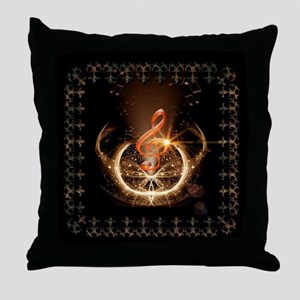 Music, clef with awesome light effect Throw Pillow