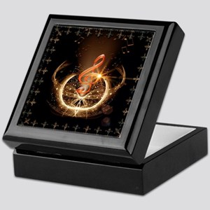 Music, clef with awesome light effect Keepsake Box