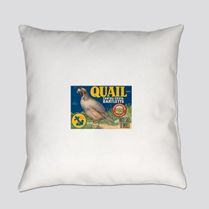 Quail Pear Fruit Crate Label Everyday Pillow