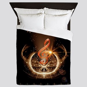Music, clef with awesome light effect Queen Duvet