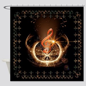Music, clef with awesome light effect Shower Curta