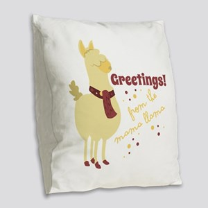 Mama Llama Burlap Throw Pillow