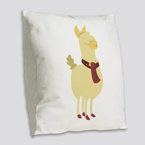 Cute Llama Burlap Throw Pillow