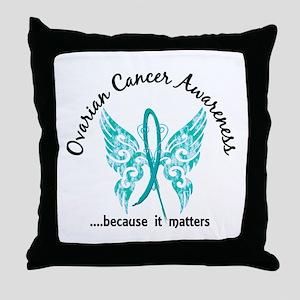 Ovarian Cancer Butterfly 6.1 Throw Pillow