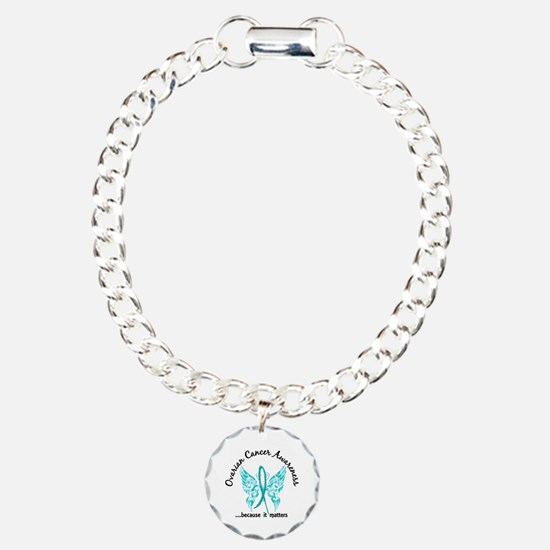 Ovarian Cancer Butterfly Charm Bracelet, One Charm