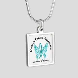 Ovarian Cancer Butterfly 6 Silver Square Necklace