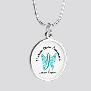 Ovarian Cancer Butterfly 6.1 Silver Round Necklace