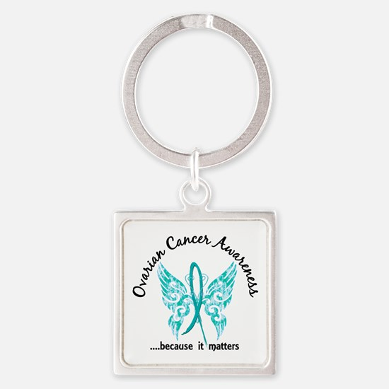 Ovarian Cancer Butterfly 6.1 Square Keychain