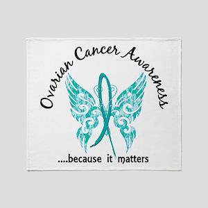 Ovarian Cancer Butterfly 6.1 Throw Blanket