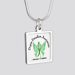 Organ Donation Butterfly 6 Silver Square Necklace