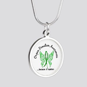 Organ Donation Butterfly 6.1 Silver Round Necklace