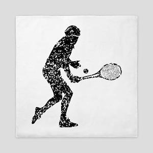 Distressed Tennis Player Silhouette Queen Duvet