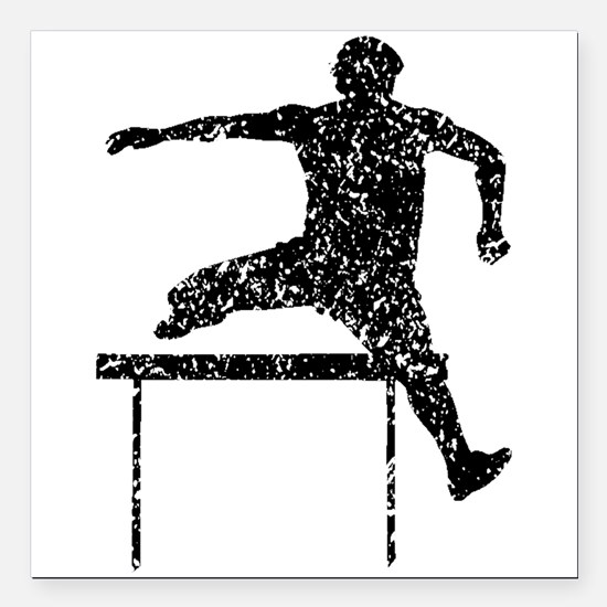 Distressed Hurdles Silhouette Square Car Magnet 3""