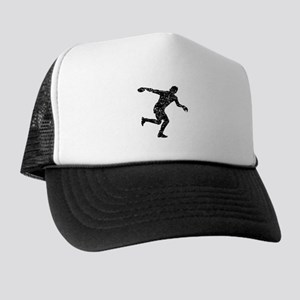 Distressed Discus Throw Silhouette Trucker Hat