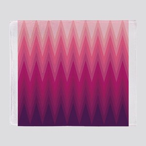 Purple Pink Ombre Chevron Throw Blanket