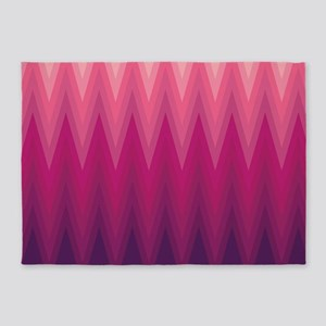Purple Pink Ombre Chevron 5'x7'Area Rug