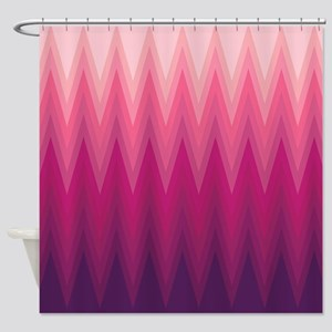Purple Pink Ombre Chevron Shower Curtain