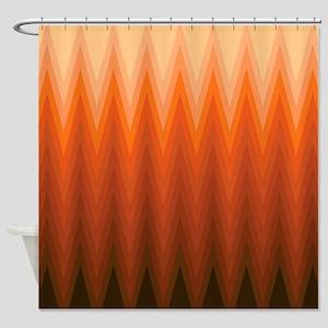 Brown Orange Beige Ombre Chevron Shower Curtain