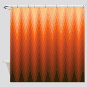 orange chevron shower curtain. Brown Orange Beige Ombre Chevron Shower Curtain Curtains  CafePress