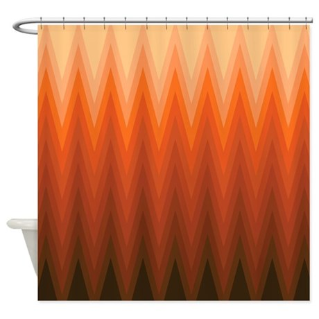 Brown Orange Beige Ombre Chevron Shower Curtain