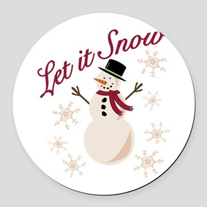 Let It Snow Round Car Magnet
