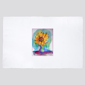 Sunflower! Colorful, flower art! 4' x 6' Rug