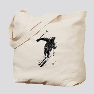 Distressed Downhill Skier Tote Bag