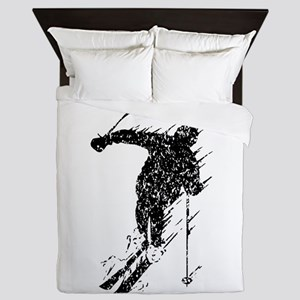 Distressed Downhill Skier Queen Duvet