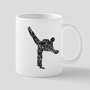 Distressed Karate Kick Silhouette Mugs