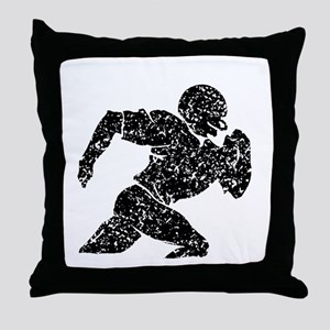 Distressed Football Player Silhouette Throw Pillow
