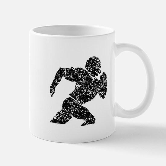 Distressed Football Player Silhouette Mugs