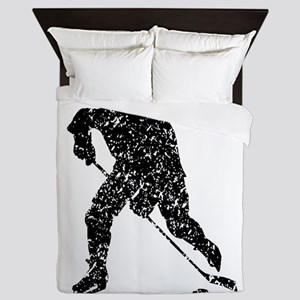 Distressed Hockey Player Silhouette Queen Duvet