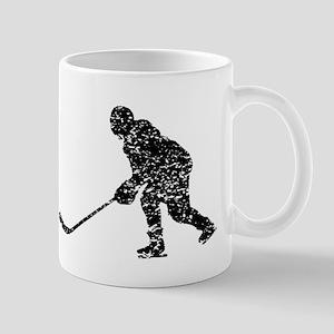 Distressed Hockey Player Silhouette Mugs