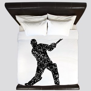 Distressed Cricket Player Silhouette King Duvet
