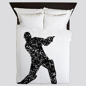 Distressed Cricket Player Silhouette Queen Duvet