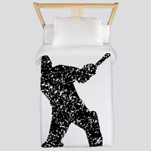 Distressed Cricket Player Silhouette Twin Duvet