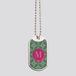 Mint Geometric Tile Pattern Pink Custom M Dog Tags