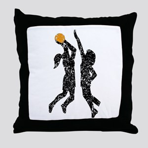 Distressed Basketball Players Throw Pillow