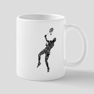Distressed Badminton Player Silhouette Mugs